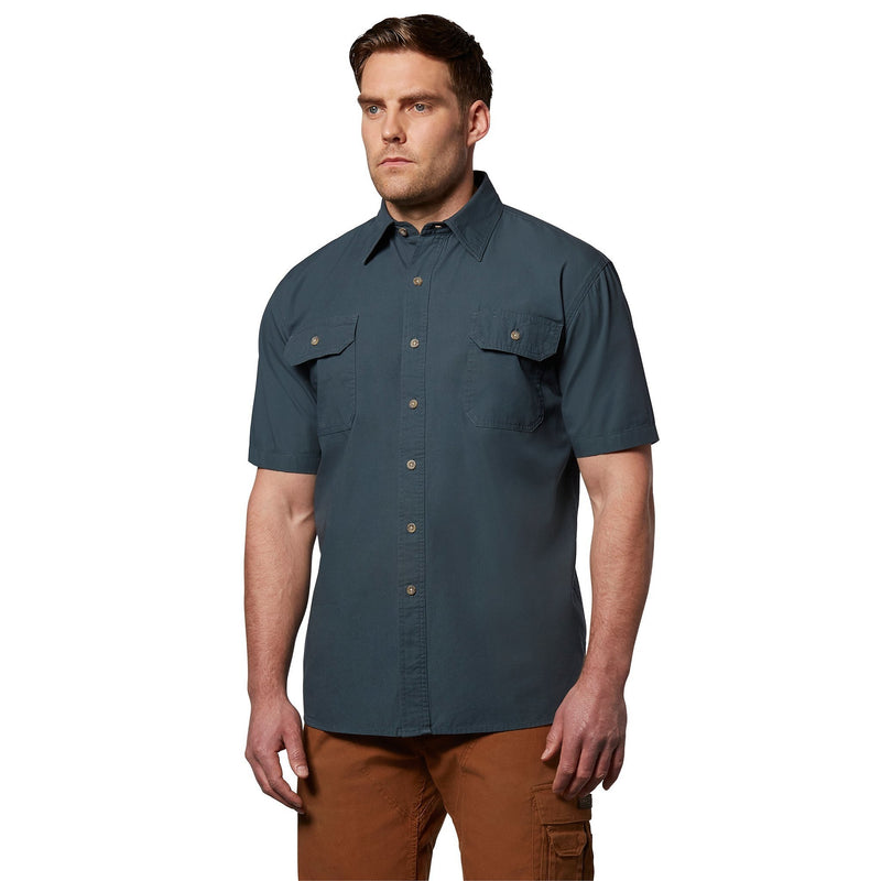 Men's short sleeve cotton canvas contractor workwear shirt - Storm Blue
