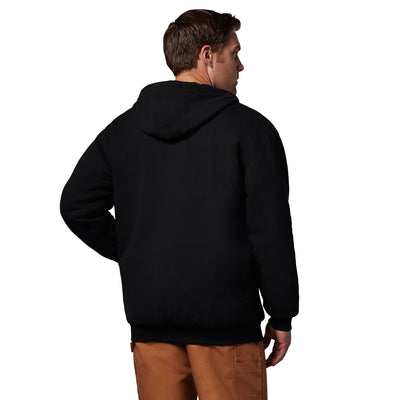 key features Men's Thermal Insulated Cotton Blend Jersey Fleece Hoodie Sweatshirt With Full Length Zipper - Black