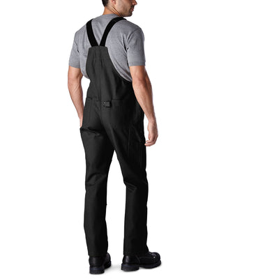 key features Men's Unlined Cotton Duck Work Bib Overalls with Adjustable Straps and Reinforced Knees - Black