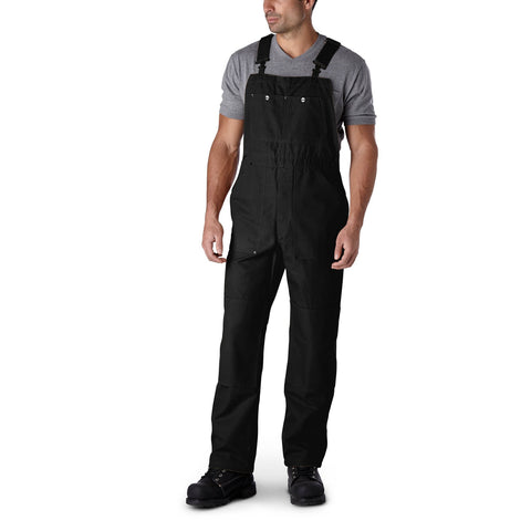 Men's unlined duck work bib/overall with Reinforced Knees - Black