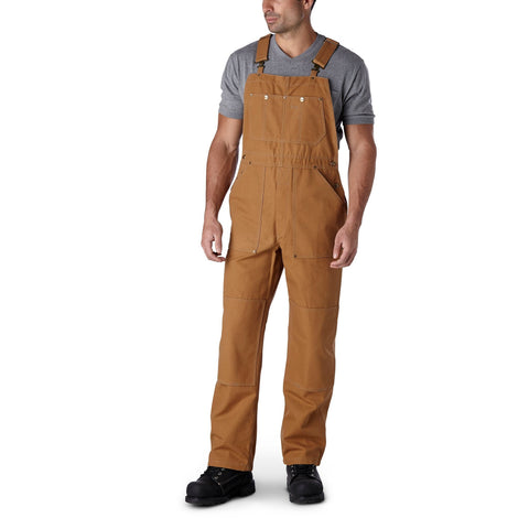 Men's Unlined Cotton Duck Work Bib Overalls with Adjustable Straps and Reinforced Knees - Brown