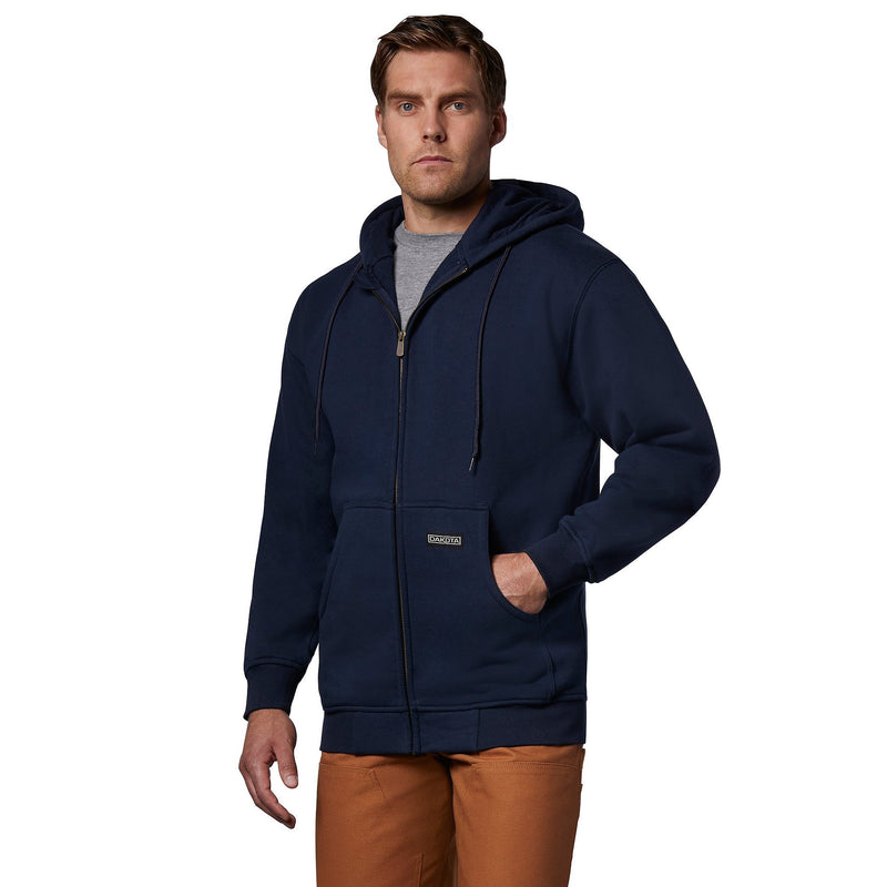 Men's unlined full zip hooded sweatshirt - Navy