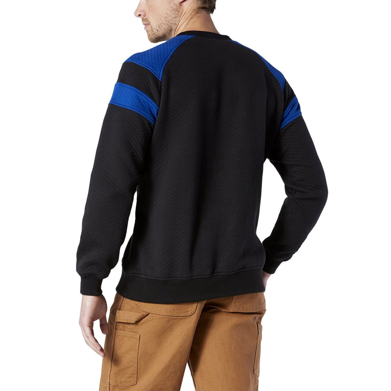 Men's Varsity Style Quilted Cotton Jersey Fleece Crewneck Sweatshirt - Black/Royal Blue