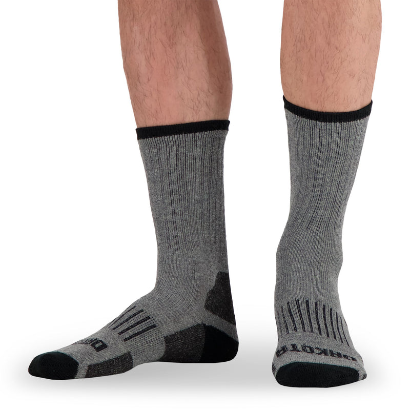 Men's Wool Blend Crew Work Socks with Odor Protection (2-Pack) - Gray Melange/Black