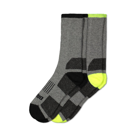 Men's Thermal Wool Blend Outdoor Work/Hiking Boot Crew Socks With Odor Protection (2-Pack) - Gray Melange/Black