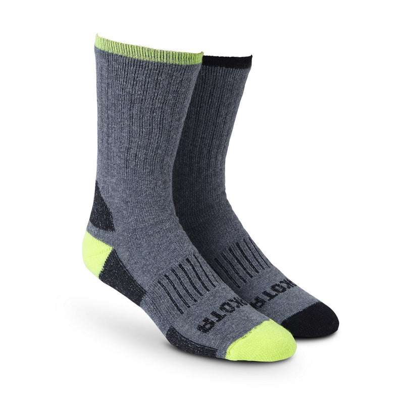Men's 2-Pack Ultimate Work Crew Socks, Comfort Technology - Grey-Neon Yellow/Grey-Black