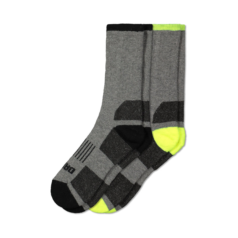 Men's Thermal Wool Blend Outdoor Work/Hiking Boot Crew Socks With Odor Protection (2-Pack) - Gray Melange/Yellow