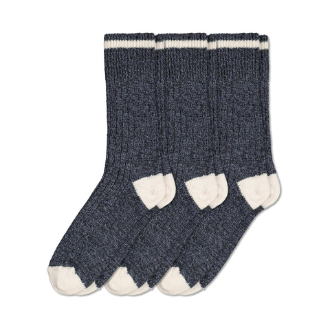 Men's Thermal Wool Blend Outdoor Work/Hiking Boot Crew Socks For Cold Weather (3-Pack) - Blue Melange/White