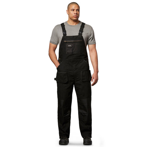 Men's Work Duck Bib Overall, Soft Cotton & Adjustable Fit - Black
