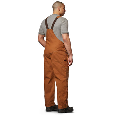 key features Men's Work Duck Bib Overall, Soft Cotton & Adjustable Fit - Brown