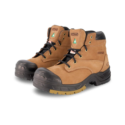 key features Women's 6 Inch Safety Work Boots Steel Toe Plated - Tan