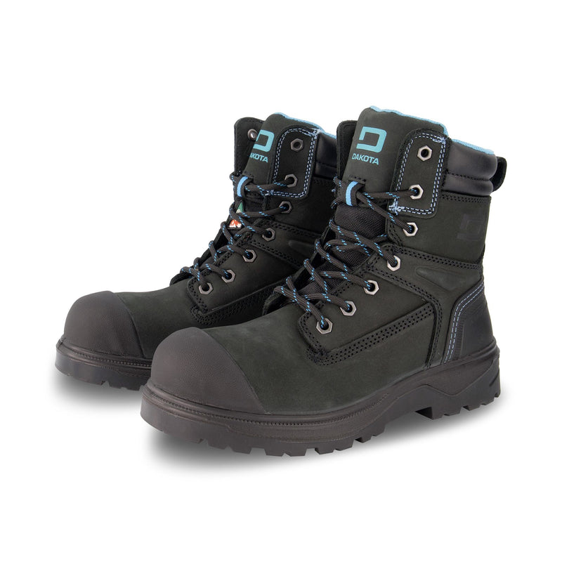 Women's 8030 8 Inch Safety Work Boots Steel Toe Plated - Black