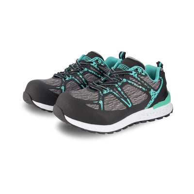 key features Women's Athletic Safety Shoe Composite Toe Plated - Black/Teal