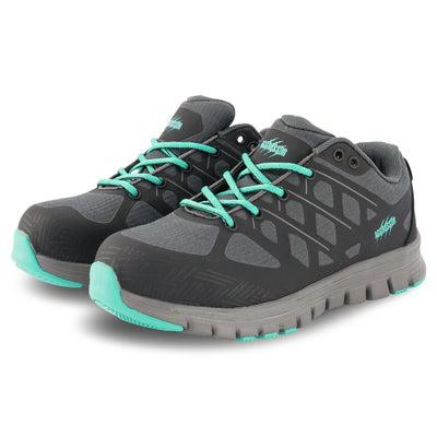 key features Women's Athletic Safety Work Shoes Steel Toe Plated With Odor Protection - Black/Teal