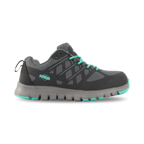 Women's Athletic Safety Work Shoes Steel Toe Plated With Odor Protection - Black/Teal