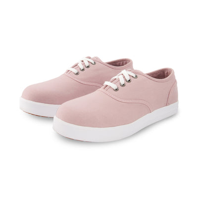 key features Women's Lace-up Cotton Canvas Safety Work Shoes Aluminum Toe Steel Plated with Odor Protection - Light Pink
