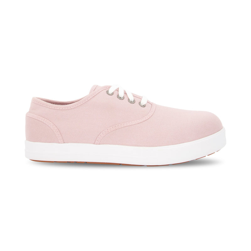 Women's Lace-up Cotton Canvas Safety Work Shoes Aluminum Toe Steel Plated with Odor Protection - Light Pink