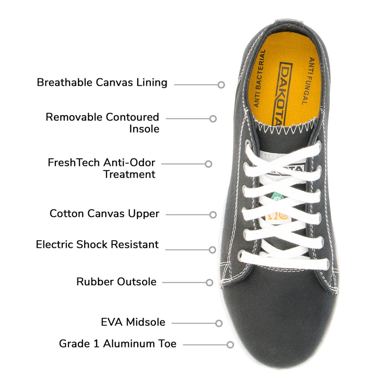 Women's Lightweight Cotton Canvas Sneaker Style Safety Work Shoes Aluminum Toe Steel Plated with Odor Protection - Black