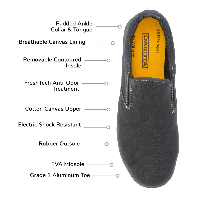 Women's Lightweight Slip-on Cotton Canvas Safety Work Shoes Aluminum Toe Steel Plated with Odor Protection - Black