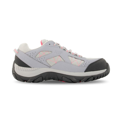 Women's Hiking Style Safety Work Shoes Steel Toe Plated With Odor Protection - Gray/Pink