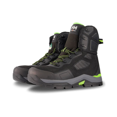 key features Men's 8 Inch Super Resilient Nylon Safety Work Boots Steel Toe Plated With Anti-Slip Soles - Black/Lime