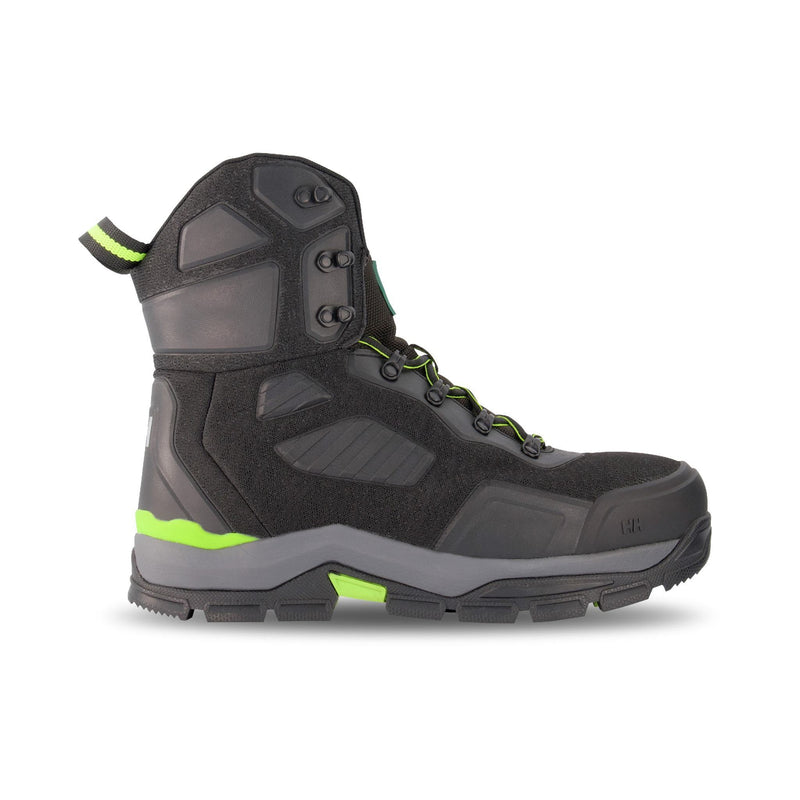Men's 8 Inch Safety Work Boots Super Resilient Steel Toe Plated - Black/Green