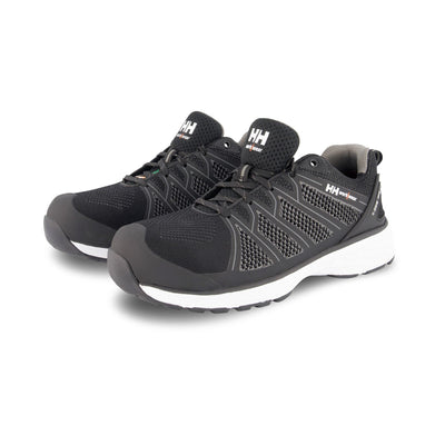 key features Men's ATSP Knit Athletic Safety Work Shoes Aluminum Toe Plated - Black/White
