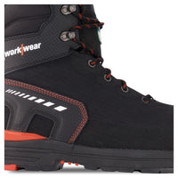 Men's 8 Inch High Abrasion Insulated Safety Work Boots Aluminum Toe Composite Plated - Black/Orange