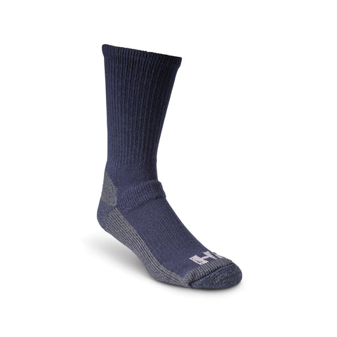 Men's Steel Toe Work Crew Socks with Heavy Cushioning and Odor Protection - Navy