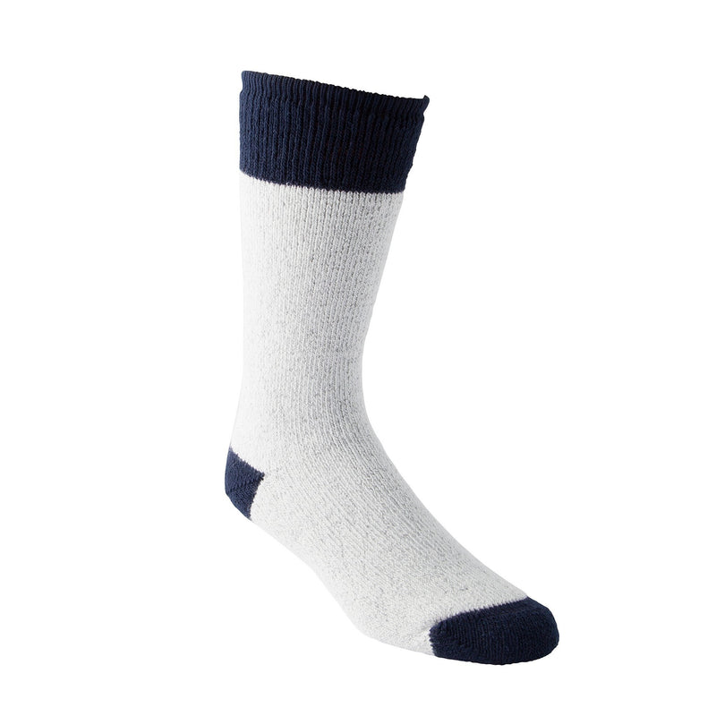 Men's/Women's Acrylic Cotton Blend Thermal Work/Hiking Socks with Moisture Wicking - Gray Melange/Navy