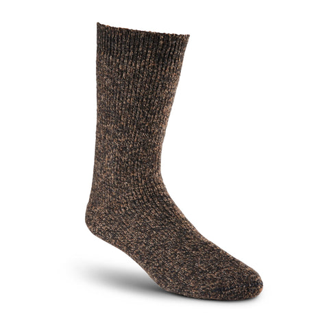Men's/Women's Heavyweight Stretch Wool Blend Work/Hiking Socks With Elastic Cuff - Dark Brown Melange