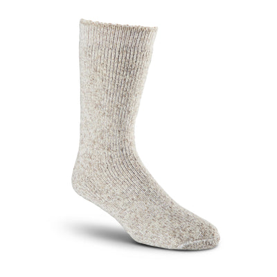 key features Men's/Women's Heavyweight Stretch Wool Blend Work/Hiking Socks With Elastic Cuff - Oatmeal Melange