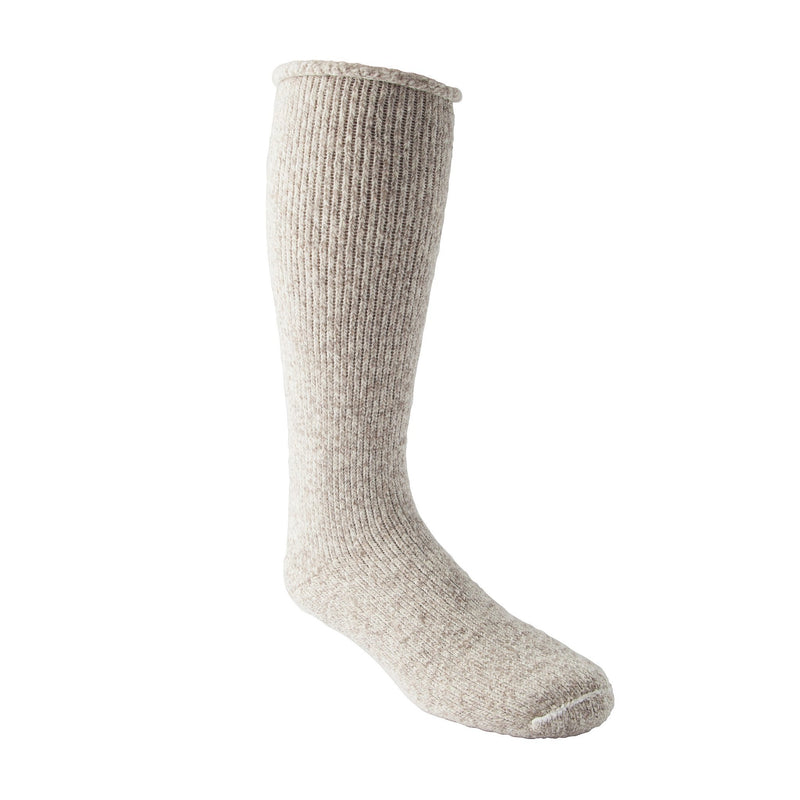 Men's/Women's Heavyweight Stretch Wool Blend Work/Hiking Socks With Rolled Cuff - Oatmeal Melange
