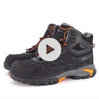 Men's Terreng 6 Inch Waterproof Hiking Style Safety Work Boots Composite Toe With Anti-Slip Soles - Black/Orange