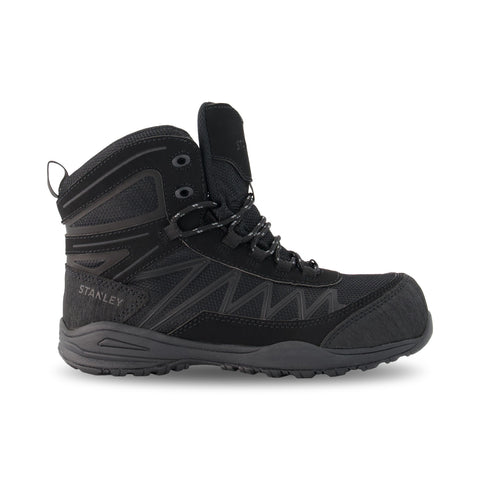 Women's Breeze Mid-Cut Hiking Style Leather Safety Work Boots Composite Toe With Anti-Slip Soles - Black