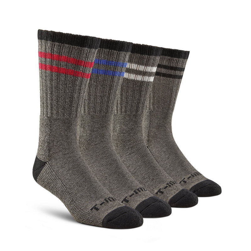 Men's Thermal Hiking/Work Crew Socks (4-Pack) - Gray/Assorted Stripes