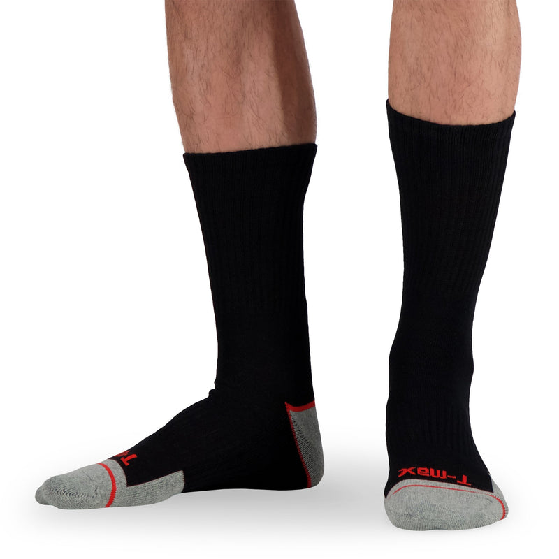 Men's Cotton Blend Athletic/Sport Crew Sock (2-Pack) - Black