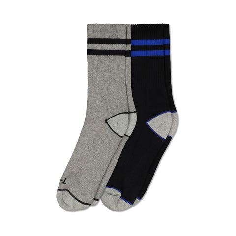 Men's Cotton Blend Athletic/Sport Crew Sock (2-Pack) - Gray Melange/Black