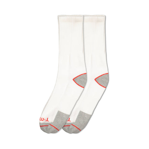 Men's Cotton Blend Athletic/Sport Crew Sock (2-Pack) - White