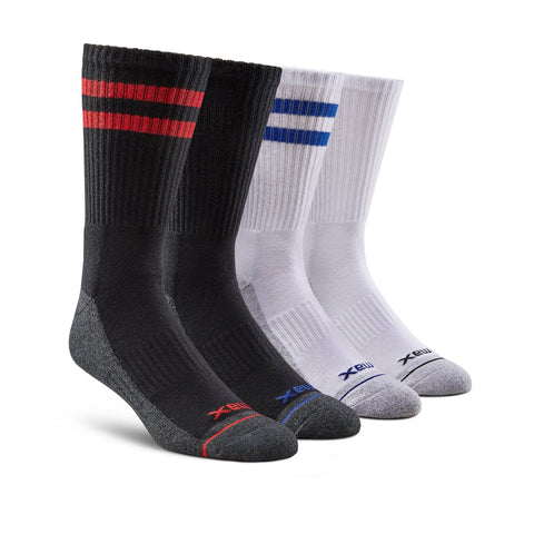 Men's Cotton Blend Athletic/Sport Crew Sock (4-Pack) - Assorted