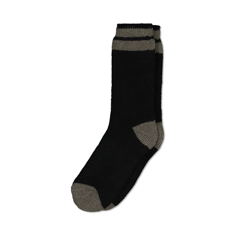 Men's Thermal Insulated Outdoor Hiking Boot Crew Socks For Cold Weather - Black/Gray Stripe