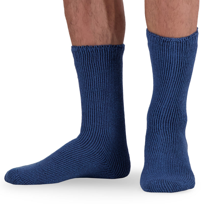 Men's Thermal Insulated Outdoor Hiking Boot Crew Socks For Cold Weather - Blue