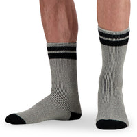 Men's Thermal Insulated Outdoor Hiking Boot Crew Socks For Cold Weather - Gray/Black Stripe