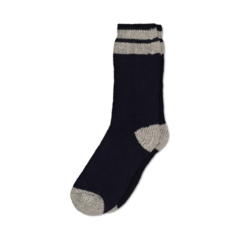 Men's Thermal Insulated Outdoor Hiking Boot Crew Socks For Cold Weather - Navy/Gray Stripe