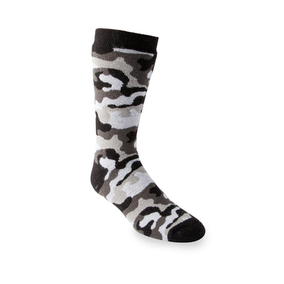 key features Men's Dual Layer Thermal Insulated Outdoor Hiking Boot Socks For Cold Weather - Gray Camo