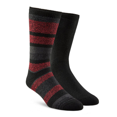key features Men's Lightweight Thermal Insulated Outdoor/Hiking Boot Socks for Cold Weather (2-Pack) - Red Stripe/Black