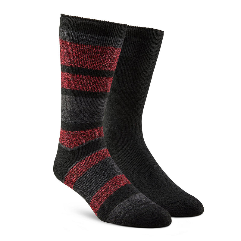 Men's Lightweight Thermal Insulated Outdoor/Hiking Boot Socks for Cold Weather (2-Pack) - Red Stripe/Black
