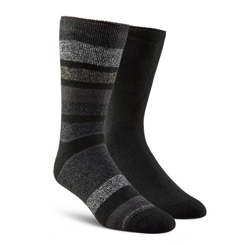 Men's Lightweight Thermal Insulated Outdoor/Hiking Boot Socks for Cold Weather (2-Pack) - Gray Stripe/Black