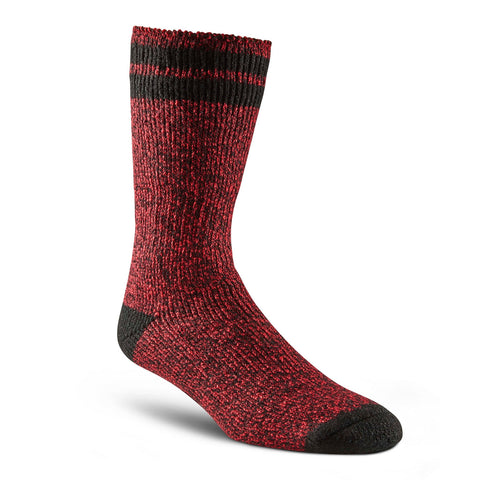 Men's Anti-Slip/Non-Skid Thermal Insulated Outdoor/Hiking Boot Socks for Cold Weather - Red Melange