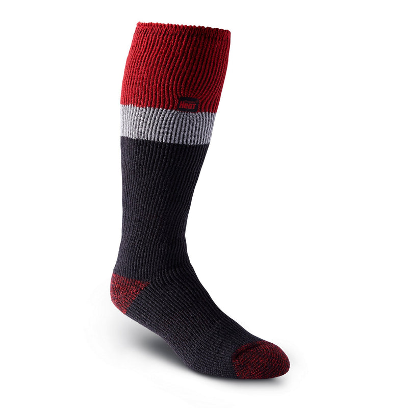 Men's Over-The-Calf Thermal Insulated Outdoor/Hiking Boot Socks for Cold Weather - Red/Black